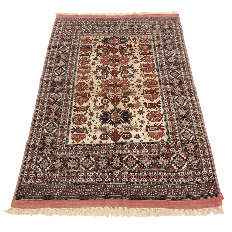 3'10 x 6'4 Hand-Knotted Afghan Turkmen Silk Blend Area Rug