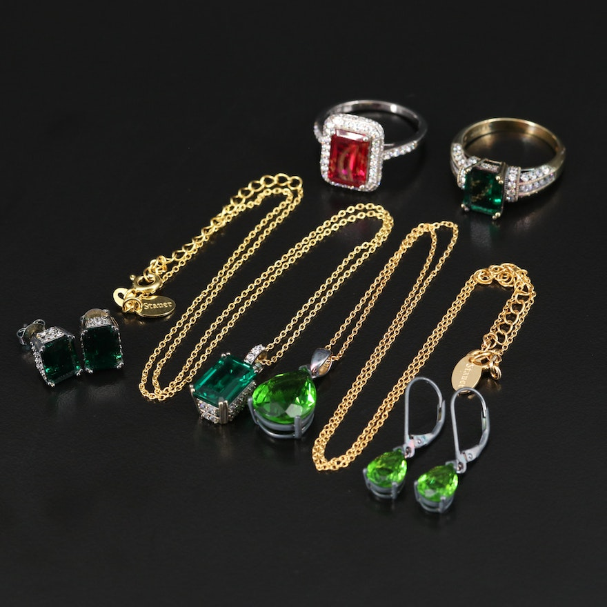Stauer Sterling Emerald, Ruby and Cubic Zirconia Jewelry Sets with Boxes