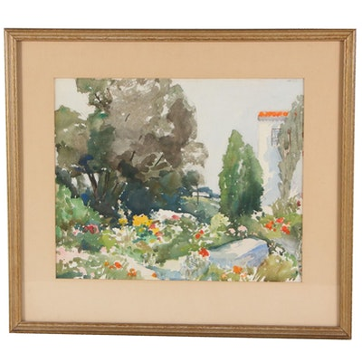 Garden Landscape Watercolor Painting, Late 20th Century