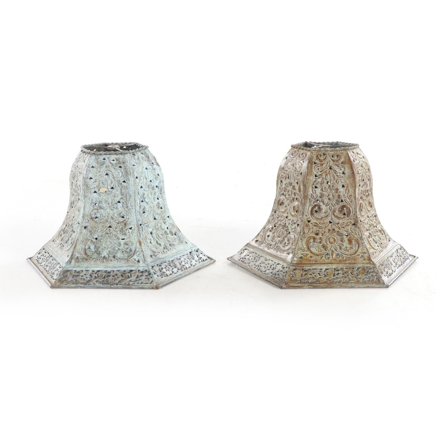 Pair of Indian Pierced Metal Bell-Form Lamp Shades, Late 20th to 21st Century
