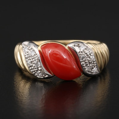 18K Coral and Diamond Ring with Platinum Accents