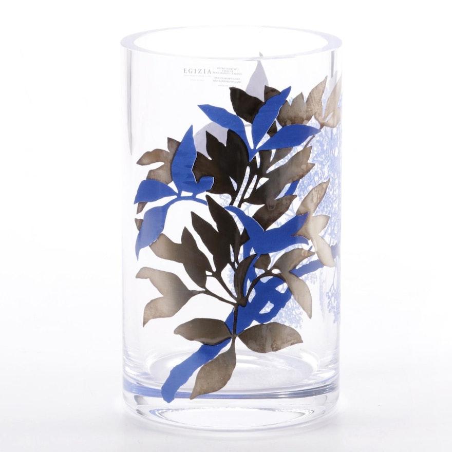 Egizia Italian Handblown Art Glass Vase with Silk Screen Design