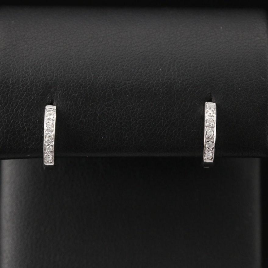 14K Diamond Huggie Earrings
