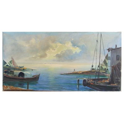 Harbor Scene Oil Painting, Late 20th Century