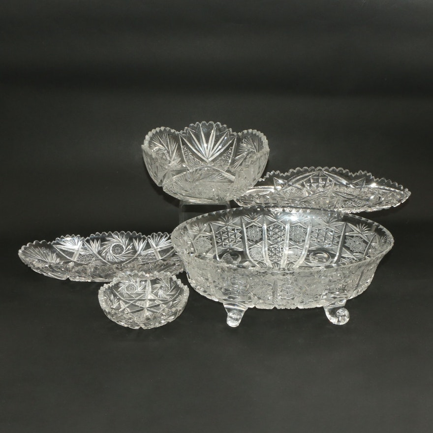 American Cut Glass Scroll Foot Bowl, Other Bowls with Pinwheel and Fan Motifs