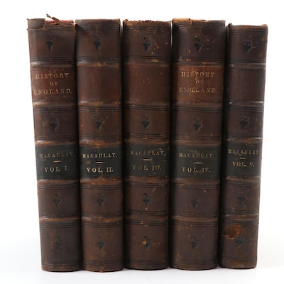 """""""The History of England"""" Five-Volume Full Set by Macaulay, 1854–1862"""