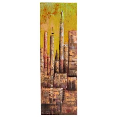 Farshad Lanjani Acrylic Painting of City Skyline