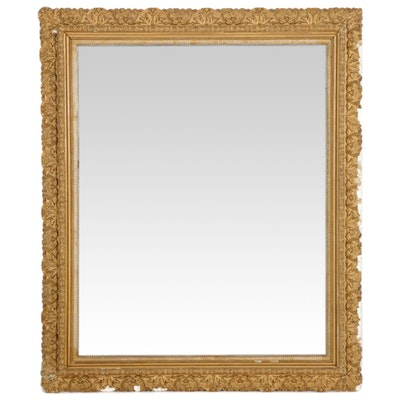 Rectangular Gold Toned Gesso Wall Mirror, Early to Mid 20th Century