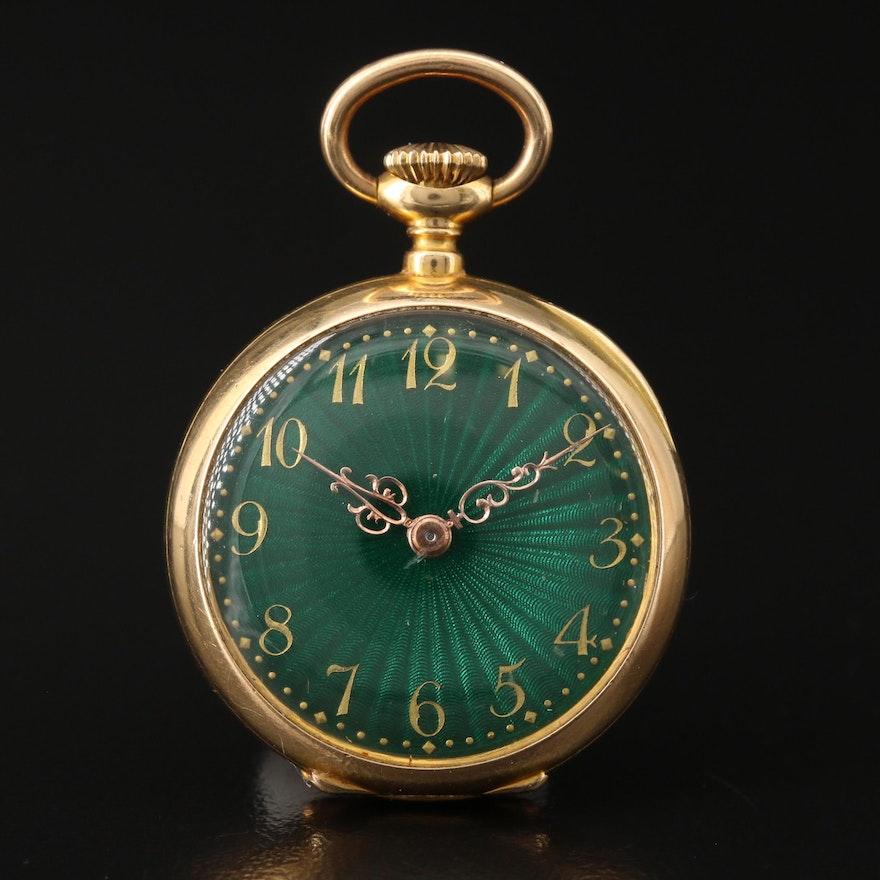 18K Gold and Green Enamel, Patek Philippe & Cie Pocket Watch