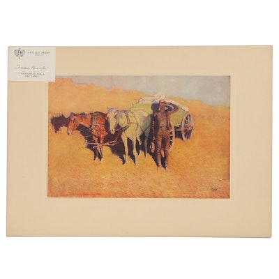 """Offset Lithograph after Frederic Remington  """"Benighted for a Dry Camp"""""""
