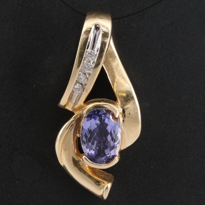 14K Tanzanite and Diamond Slide Pendant