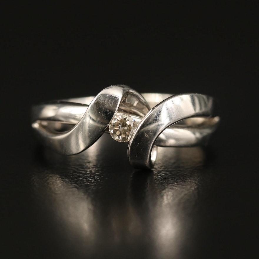 10K Diamond Flowing Ribbon Ring