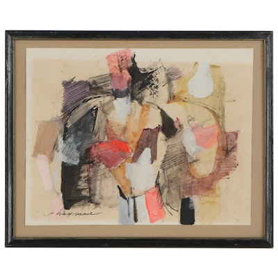 Patrick Hayman Abstract Mixed Media Painting, Mid-20th Century