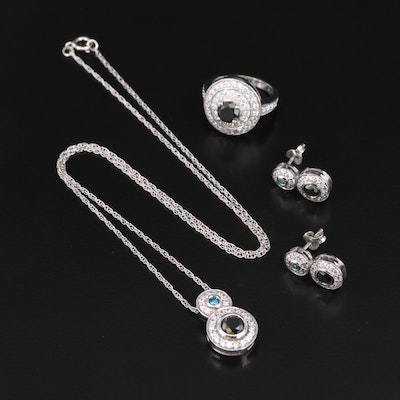 Sterling Silver Black Diamond and Cubic Zirconia Jewelry Set