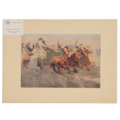 """Offset Lithograph after Frederic Remington """"Bringing Home the New Cook"""""""