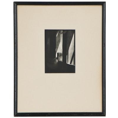 Newman Silver Gelatin Photograph of Nude Figure in Window, 1974