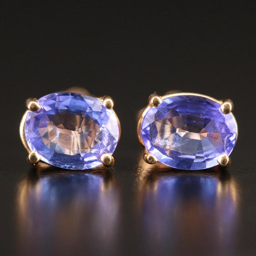 14K Tanzanite Stud Earrings