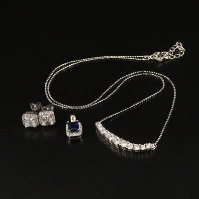 Sterling Sapphire and Cubic Zirconia Jewelry with Stauer Earrings and Pendant