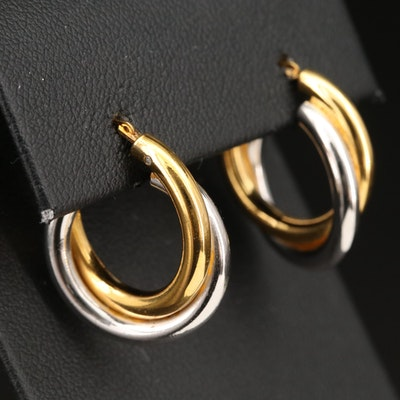 14K Diamond Double Hoop Earrings