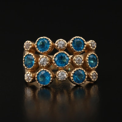 14K Apatite and Zircon Multi-Row Ring
