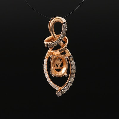 14K Le Vian Diamond Semi-Mount Pendant