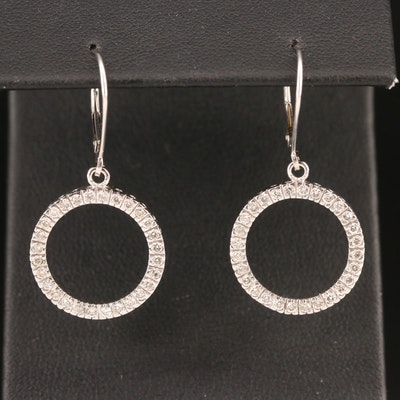 10K Diamond Circle Dangle Earrings