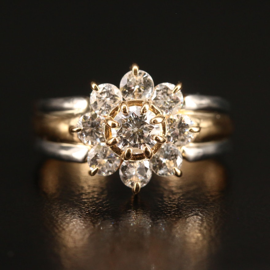 14K 1.01 CTW Diamond Cluster Ring with Platinum Accents