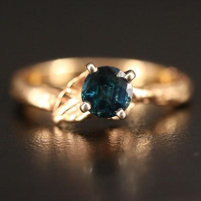 14K Sapphire Foliate Ring