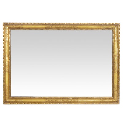 Rectangular Wall Mirror with Gilt Gesso Frame,  Early to Mid 20th Century
