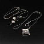 Sterling Silver Pearl and Faux Pearl Necklaces