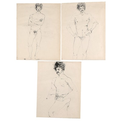 John Tuska Figural Ink Drawings, Late 20th Century