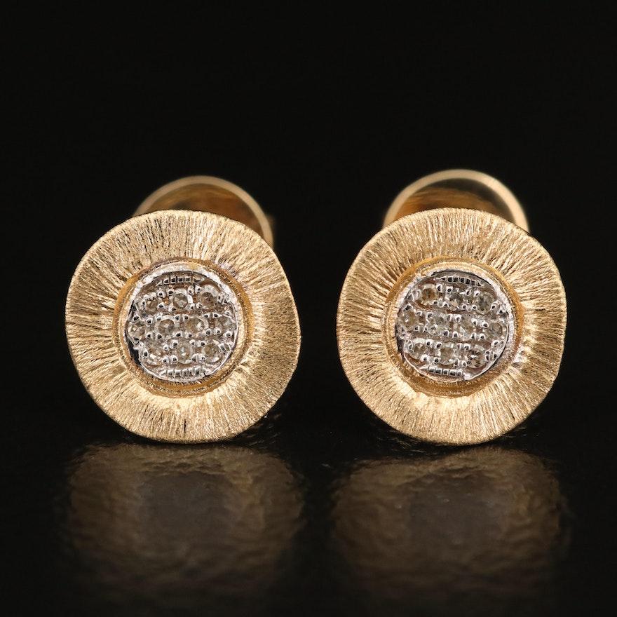 14K Textured Diamond Cluster Earrings