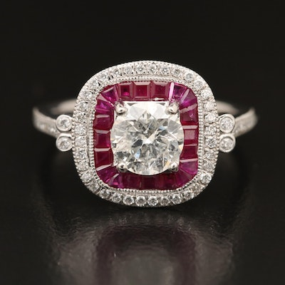 Platinum 1.24 CTW Diamond and Ruby Halo Ring
