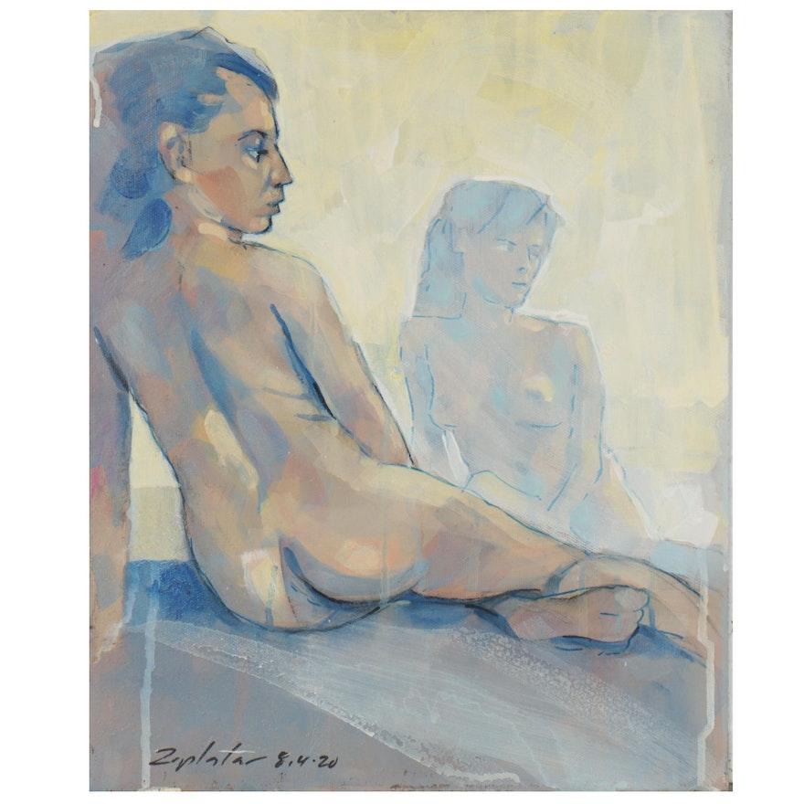 "Raymond Zaplatar Acrylic Painting ""The Reflection,"" 2020"
