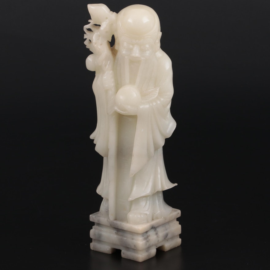 """Chinese Style Carved Serpentine """"Shoulao"""" Figurine"""