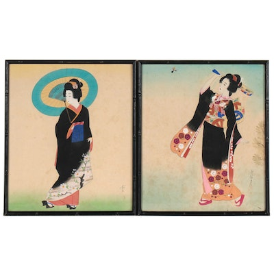Japanese Gouache Paintings of Women in Floral Kimonos, 20th Century
