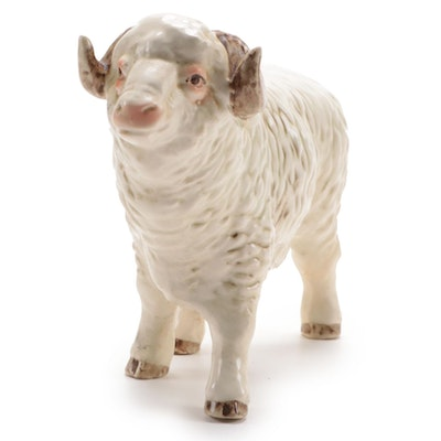 Goebel Porcelain Ram Figurine, Late 20th Century