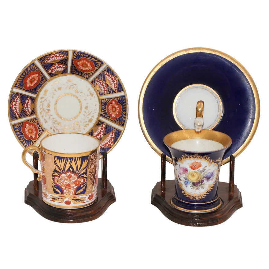 Meissen and Derby Porcelain Demitasse Cups with Display Stands, Antique