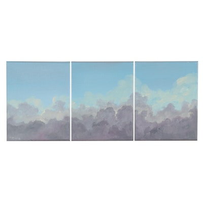 """Rebecca Manns Triptych Oil Paintings """"Becoming Light,"""" 2021"""