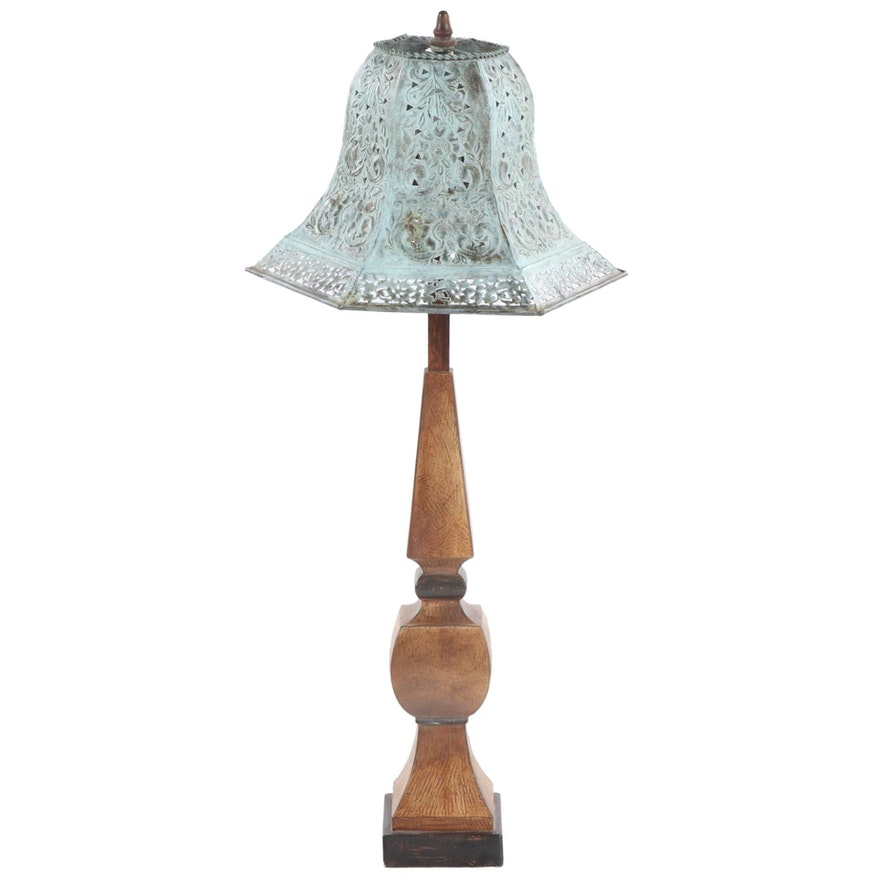 Casual Lamps Faux-Bois Table Lamp with Patinated Metal Shade