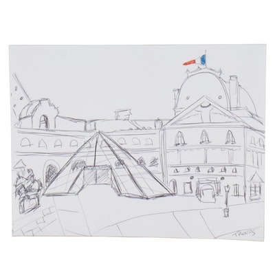 """Patricia Nolan-Brown Ink Drawing """"The Louvre Museum,"""" 2019"""