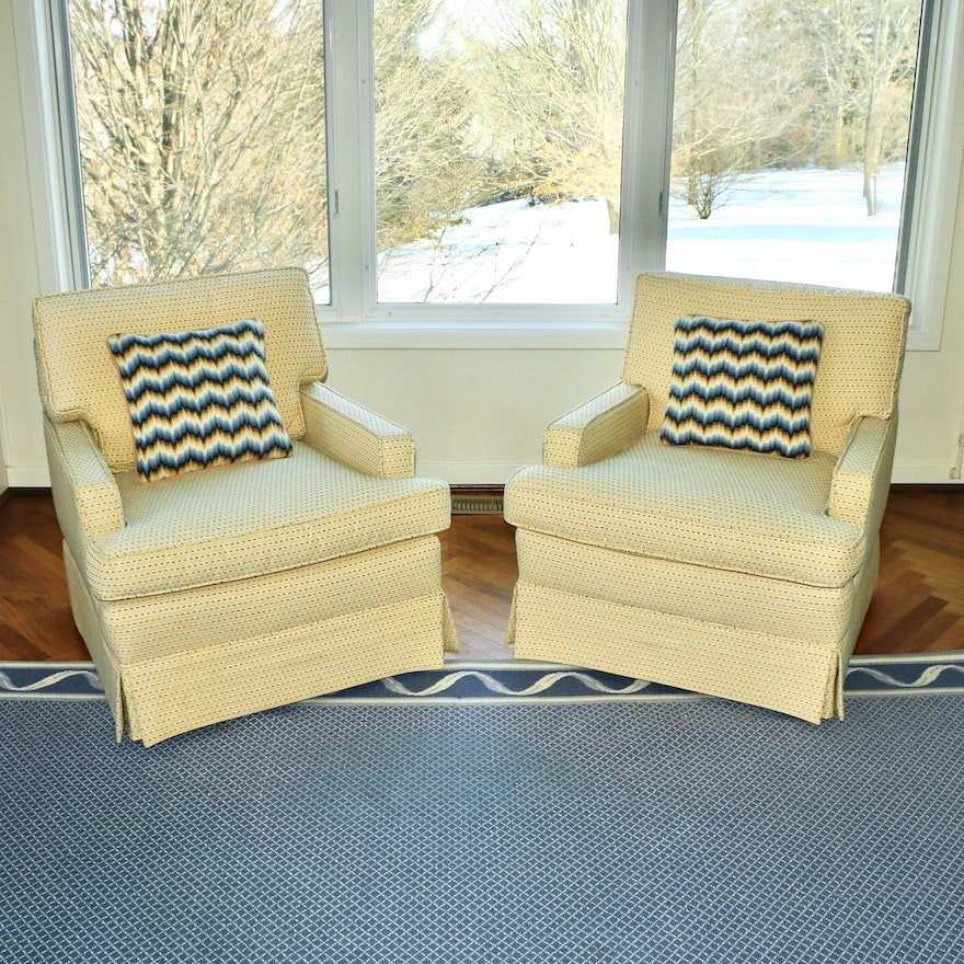 Pair of Skirted Upholstered Armchairs with Pillows