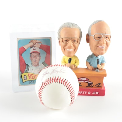 Joe Nuxhall Signed Baseball, Bobblehead Doll, and 1965 Topps Baseball Card