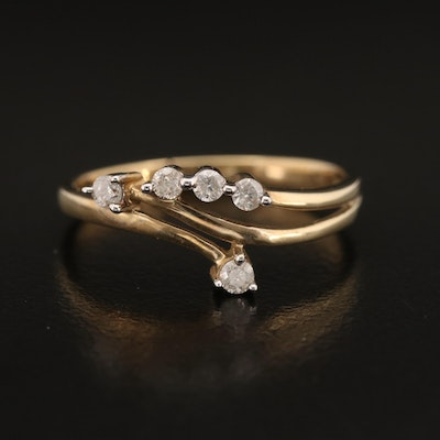 10K Diamond Bypass Style Ring