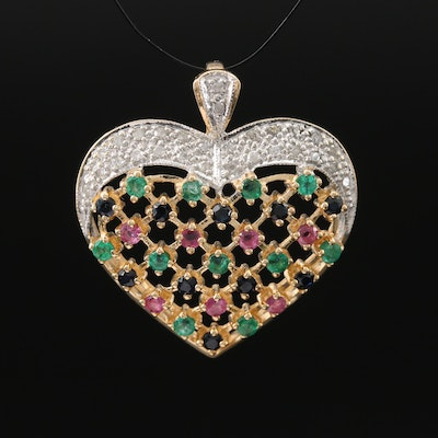 10K Diamond, Emerald and Gemstone Heart Pendant