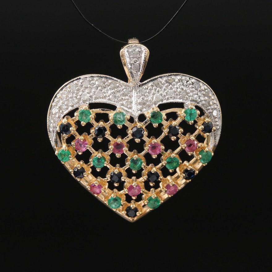 10K Diamond, Emerald and Gemstone Heart Pendant