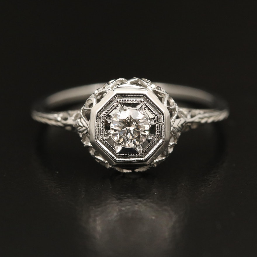 Edwardian 18K Diamond Filigree Ring