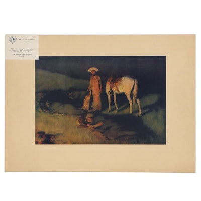 """Offset Lithograph after Frederic Remington """"In from the Night Herd"""""""