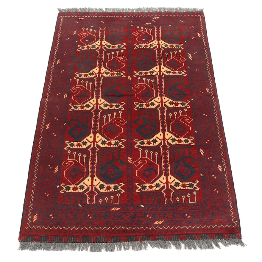 3'2 x 5'2 Hand-Knotted Afghan Turkmen Area Rug