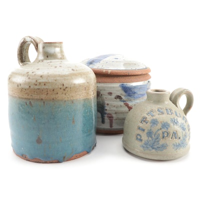 Jayme Hays Pittsburg Jug and Other Earthenware Art Pottery, Late 20th Century